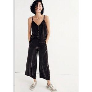 Madewell Velvet Wide Leg Crop Pull On Pants Small
